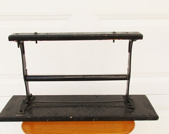 Vintage Cast Iron Paper Dispenser - Gift Shop or Specialty Store - Black Paint - Metal With Wood Base - Strong and Sturdy - Farmhouse Chic