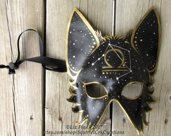 Half Mystic Wolf Mask with Western Zodiac Symbol and corresponding Constellation, All symbols available! Animal mask, LARP, Halloween Mask
