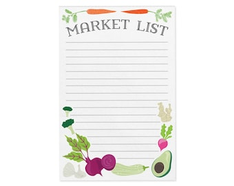 MARKET LIST Notepad. Grocery notepad. Marketlist Notepad. Illustrated notepad with 50 tear-away sheets on chipboard backer.