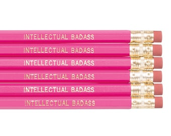 INTELLECTUAL BADASS pencil set. Funny pencils. Pink pencils. Back to school supplies. Gifts for grads. Office supplies. Motivational pencil.