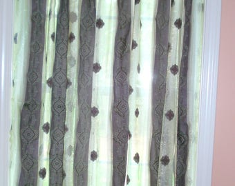 "Olive Green and Grey Sheer Shimmery curtains 40"" x 63"""