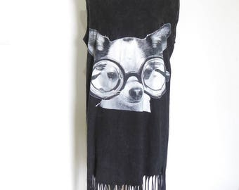 Dog Glasses Tanks Dog tees Maxi Dress Poncho Tassel Dress bleached Shirt Black Shirt Screen Print (Measurements - fits great from S - M)