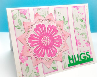 4 pink flower cards - HUGS - birthday cards - butterfly cards - bird cards - colorful - happy - Stampin up hand stamped - Friendship cards
