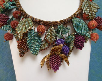 Etruscan Berry and Leaf Wreath Necklace, Symbolizing the Joys of Youth, Bead Woven Berries and Leaves, Matching Earrings Included