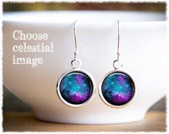 Solar System Jewelry • Moon Earrings • Nebula Earrings • Full Moon Jewelry • Celestial Jewelry • Science Gift • Planet Earrings