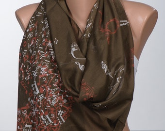 BROWN Music Notes print Scarf. Fall autumn scarf. Fashion accessories. Gift for her. Women gift.