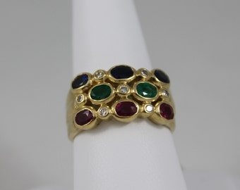 18K Yellow Gold Ruby Emerald Diamond and Blue Sapphire Ring