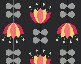 Nordika, Art Gallery Fabrics, Tulip Vines Licorice, NOR-8600