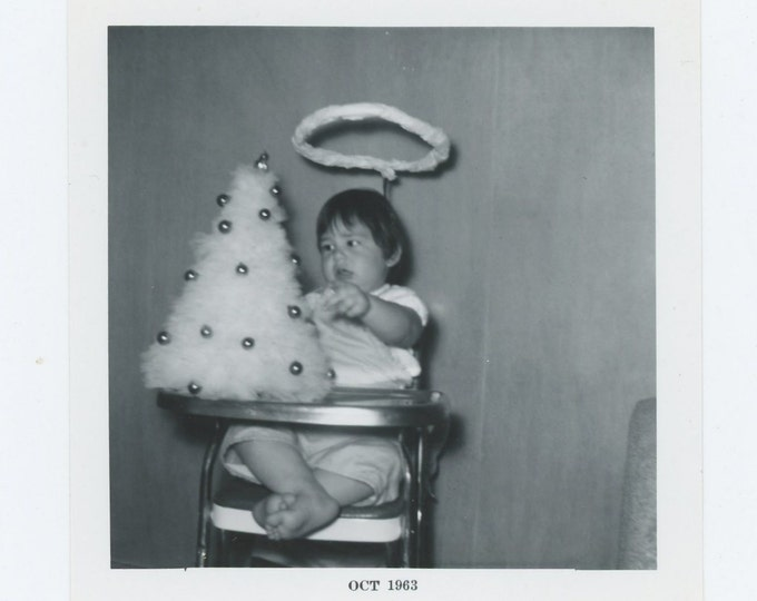 Angel with Xmas Tree, 1963: Vintage Snapshot Photo (72546)