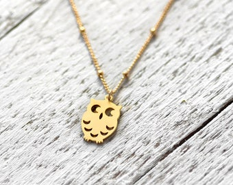 LITTLE OWL necklace with owl   gold