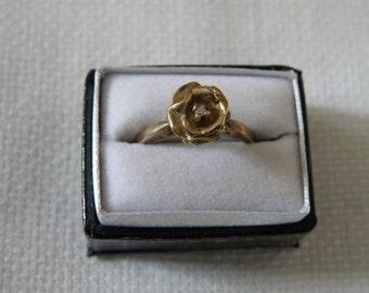 14K Gold Diamond Ring - Size 6 3/4 US