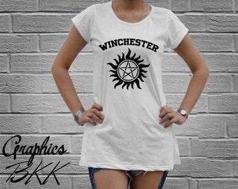 Supernatural T-Shirt Women's oversized T-Shirt Mini Dress Supernatural Shirt unisex tee Winchester Tattoo shirt (M-L) Free Shipping