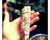 Sage Smudge Wand - Sacred Incense - Healing - Banishes Negative Energy - Cleanses Crystals - Reiki Charged - Meditation - Herbal Bundle