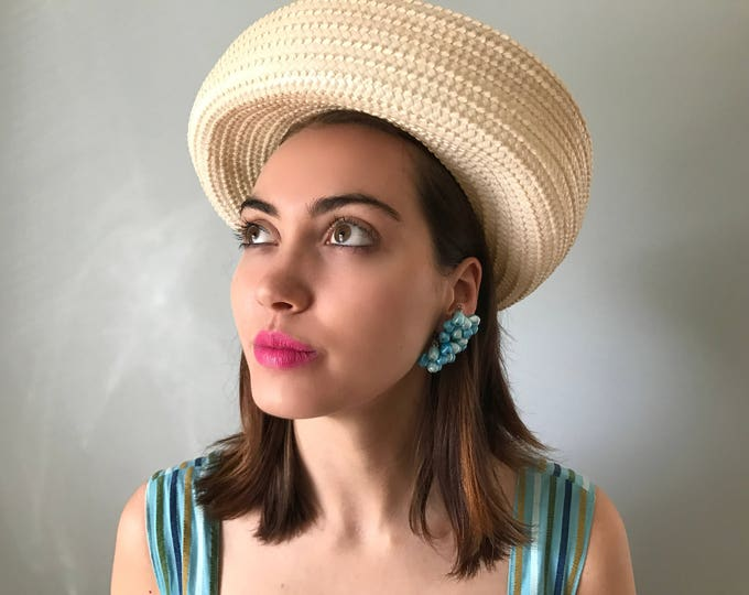 Vintage 60s Full Brim Straw Topper Hat
