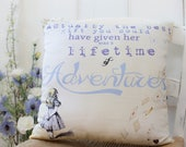 Girls gift Alice in Wonderland Pillow.  Gift for Alice in Wonderland fans. Girls bedroom. Alice in Wonderland Nursery.