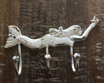 Beach Decor White Mermaid Triple Wall Hook - Mermaid Decor - Wall hook - Coastal Home Decor - Beach Decor - Mermaid Hook - Shabby Chic Hook