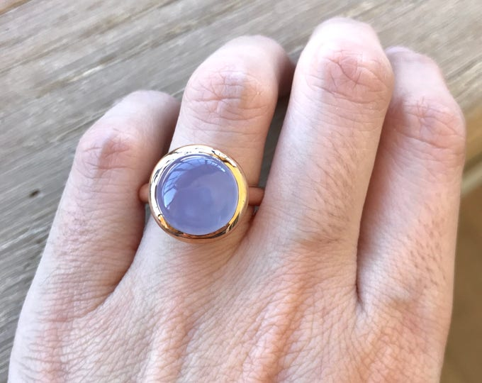 Rose Gold Ring- Something Blue Ring- Classic Blue Promise Ring- Alternative Engagement Ring- Simple Solitaire Ring- Blue Statement Ring