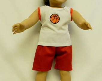 Basketball Outfit With Shoes, Socks & Ball For 18 Inch Doll Like The American Girl