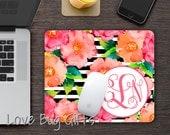 Personalized Mousepad * Stripe * Watercolor floral * Monogrammed * Desk accessory * Mouse Pad * Vine/script monogram