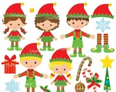 ON SALE INSTANT Download. Christmas elves clip art.  CCh_21. Personal and commercial use.