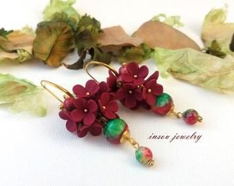Bordeaux Earrings, Flower Earrings, Fashion Earrings, Bordeaux Jewelry, Flower Jewelry ,Dangle Earrings, Romantic Jewelry, Gift For Her