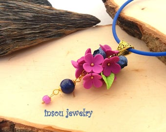 Blue Necklace, Blueberry, Flower Necklace, Blueberry Necklace, Flower Jewelry, Berry Jewelry, Spring Jewelry, Women Gift, Nature Jewelry