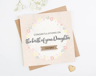 Personalised New Baby Card Daughter Pink