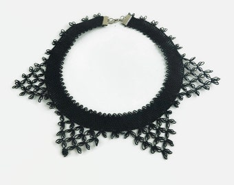 Black Tatted Lace Choker Necklace, Crochet Collar Style Black Necklace, Turkish Oya, Elegant and Lightweight, Crochet Jewelry