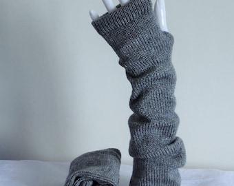 Grey fingerless gloves, ultra long hand warmers, long gloves, wrist warmers, knitted from acrylic yarn