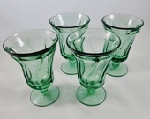 """12 Jamestown Fostoria Green Ice Tea Tumblers, Set of 4, Water Goblets, 6"""" # 93, 3 sets Available"""