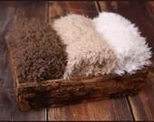 Faux Fur Newborn Photo Prop * super soft basket filler stuffer and bean bag covering * neutral, brown, caramel, cream * flokati alternative