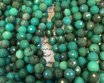 "Gorgeous green African opal beads, 10mm faceted, green Opals, 15.5"" strand, variegated green colors, pantone color of the year, opal beads"