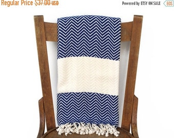 Xmas Sale Peshtemal Throw Blanket Sofa Throw Turkish Towel Beach Blanket Handwoven Cotton Turkish Bath Towel Fouta Towel Stripe BLUE CHEVRON