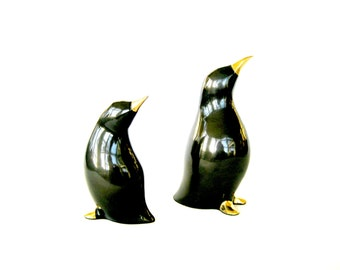 Pittsburgh Penguins Classy Figurines, Vintage Penguin Figurines, Two Penguins, Mid-Century Penguin Figurines,  Gold and Black Penguin