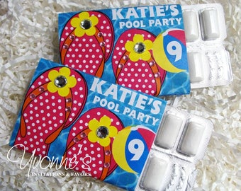 Summer Birthday Luau Party Favors-Candy Bar/Gum Favors Wrapper - Flip Flop Design - Pool Party, Birthday, Summer/Vacation Fun, End of School