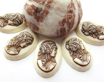 2pcs Ivory Brown Lady Cameo 25 x 18 mm Lady Cameo 3D Cameo Resin Lady Cameo Vintage Style Cameo Flat back Jewelry making Craft Supplies