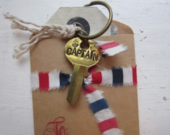 """RESERVED """"Captain"""" Hand Stamped Brass Key Keychain"""
