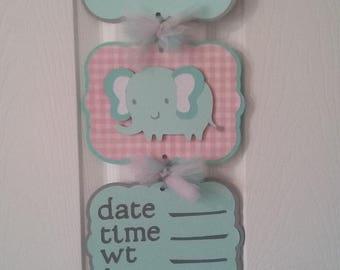 Baby Girl Hosp Banner-Baby Girl Elephant Bane-Baby Girl Elephant shower-Baby Girl Shower Gift