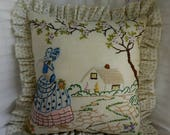 Vintage Southern Belle Pillow - Crinoline Lady - decorator pillow - Embroidered - Vintage Buttons - Vintage Doily - Vintage Linen