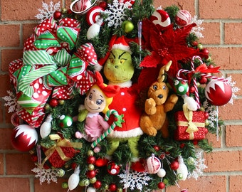 Grinch, Max, and Cindy Lou Who Christmas Wreath, Grinch Wreath, Peppermint, red white green Holiday decor
