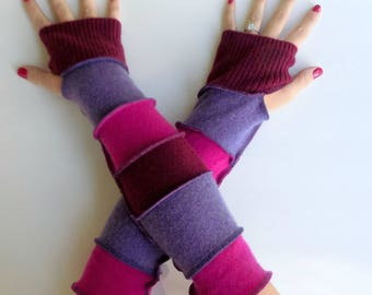 Extra Long Arm Warmers -  Cashmere Gloves - Upcycled Clothing - Great for Arthritis Pain - Gypsy Clothing - Boho Hippie Gypsy Style