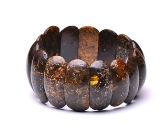 Unique Amber Bracelet - Dark Amber Bracelet - Exclusive Bracelet Made from Amber - Certified Baltic Amber