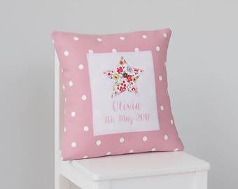 Personalised New Baby Girl Cushion, New Baby Girl Pillow, Personalised Pillow, New Baby Girl Gift, Personalised Keepsake
