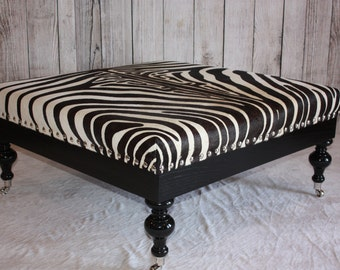 Ebony / Black and White Zebra Hide Print Cowhide Ottoman