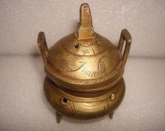 Vintage Chinese Etched Brass Lidded Incense Burner