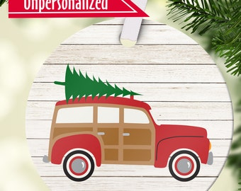 Personalized Christmas Ornament with Name  Woody Red Car Beachmobile - First Christmas Ornament  Christmas Tree Decoration - Free Gift Box