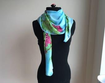 Multicolor Silk Scarf, Neck Silk Scarf, Chiffon Scarf, Flower Scarf, Womens Scarf, Gift for her, Womens Gift, Handmade Scarf