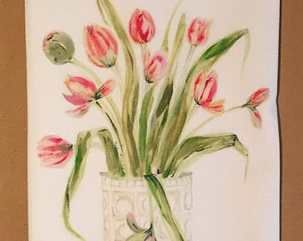 Tulips Cotton Huck Kitchen Towel