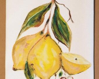 Lemon Cotton Huck Kitchen Towel