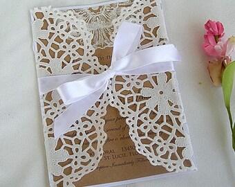 White Lace Wrap Wedding Invitation Paper Lace Wrap Lace Wrap Sleeve Wedding Invitation Doily Lace Wrap Invitation